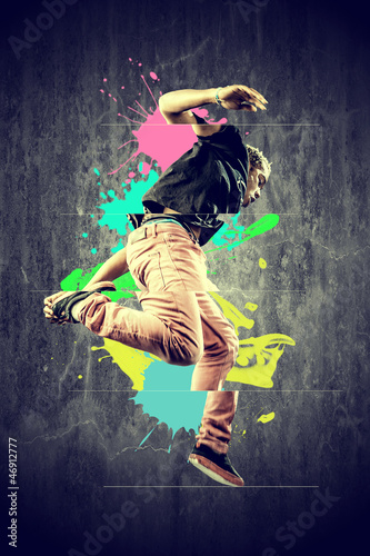 Dancer in retro style with splashes