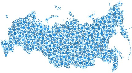 Map of Russia in a mosaic of blue circles