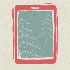 Christmas trees on tablet device screen, technology concept illu