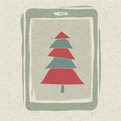 Xmas tree on tablet device screen, technology concept vector, EP