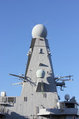 A modern warships radar fitted with upto date technology