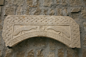 Arch of  ciborium with peacocks. seventh century -Viterbo, Italy