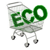 Inscription ECO in the supermarket cart