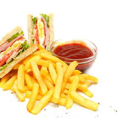 Club Sandwich with fries and red sauce