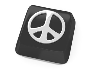 Peace symbol in white on black computer key