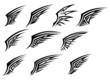 Set of black tribal wing tattoos