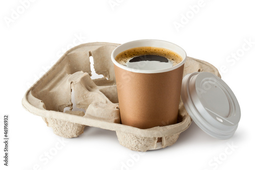 Opened take-out coffee in holder