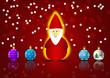 Babbo Natale con palline vector