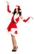 Beautiful woman dressed in Christmas cloths