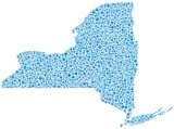 Map of New York State (USA) in a mosaic of blue bubbles