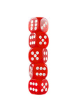 Pile of red dice over white isolated background