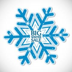 Big winter sale, vector sticker, Christmas offer