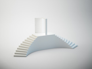 An abstract staircase with doors