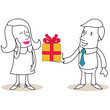 Figur, Geschenk, überreichen, Mann, Frau
