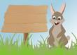 Fröhlicher Osterhase sitzt vor Holzschild