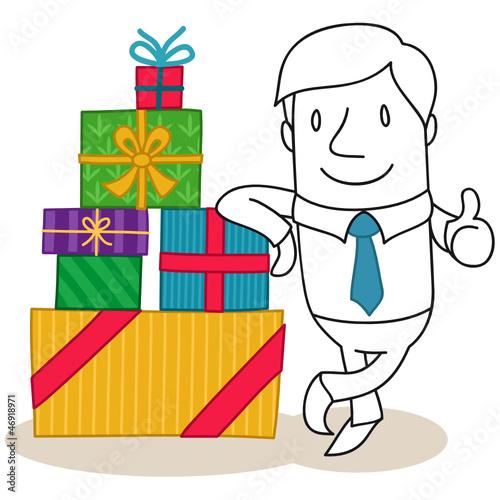 Geschäftsmann, Geschenke, Daumen hoch