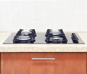 close up Gas Hob modern kitchen