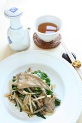 chinese cuisine, pork liver and leek stir fried with tea