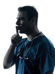 doctor man surgeon hushing portrait  silhouette