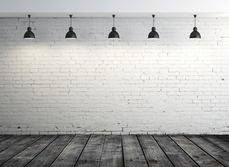 brick interior and five lamps