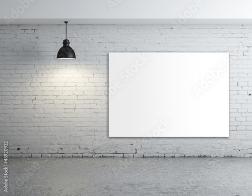 white poster in room