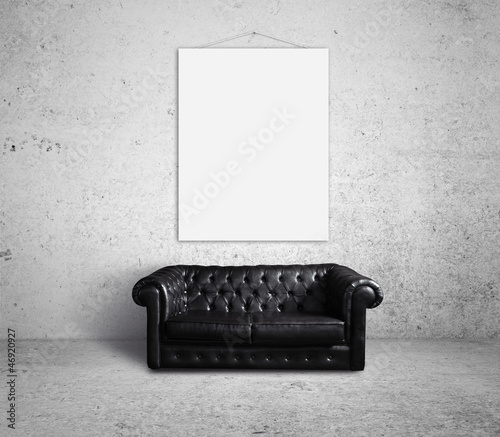 empty poster on wall