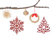 Set decoration on a branch for Christmas. On a white background,
