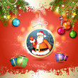 Christmas with gifts and Santa in hanging ball shape