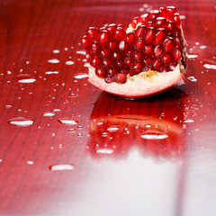 Juicy pomegranate seeds.