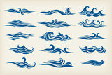 set from sea waves - stylized design