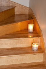 Lanterns decorating wooden staircase