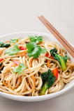 Bowl of asian stir fry noodles with vegetable