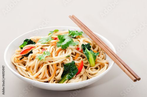 Bowl of stir fry noodles with asian vegetables