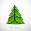merry christmas card green tree colorful vector