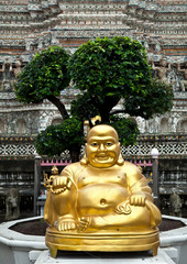 Happy Buddha figure at Wat Arun, Temple of the Dawn
