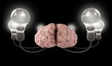 Brain And Lightbulb Imagination Black poster