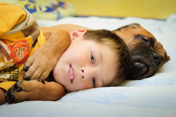 puppy bullmastiff with boy