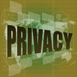 Privacy word on digital screen, security concept