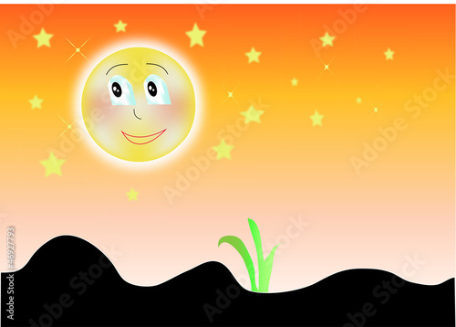 Grass green vector silhouette on color sunset background