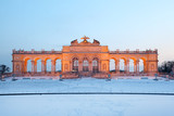 Beautiful Glorietta at Schonbrunn Park at winter evening