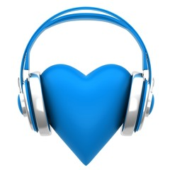 Blue headphones with a heart