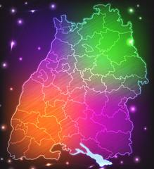 Gescribbelte Karte von Baden-Württemberg mit Kreisgrenzen