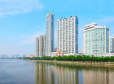 Coast with high buildings near Pearl river in Guangzhou, China.