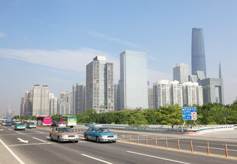 Road near International Finance Center in day in Guangzhou