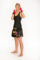 Attraktive Boxerin vor einem Wettkampf