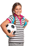 Schoolgirl with soccer ball