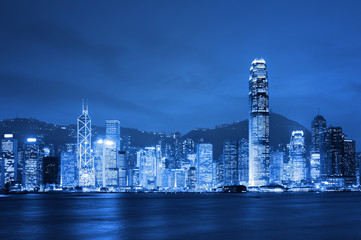 Hong Kong, Victoria Harbor at night.