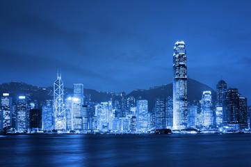 Hong Kong, Victoria Harbor at night.