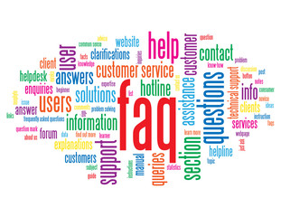 """FAQ"" Tag Cloud (support customer service hotline information)"