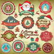 Collection of vintage retro grunge christmas labels, badges and
